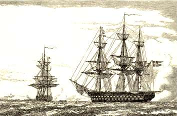 The Frigate GEFION and the ship-of-the-line CHRISTIAN VIII