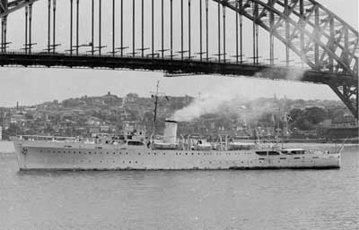 The frigate GALATHEA under the Sydney Harbor Bridge in Australia