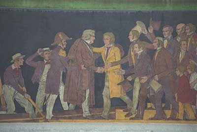Thorvaldsen's homecoming in 1838 was depicted in an exterior frieze