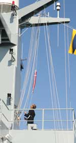 The sign of command, the naval pennant is hoisted