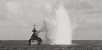 German bombs exploding close to the NIELS IUEL
