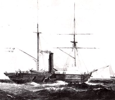 "The paddle steamer HEKLA, which the insurgents nicknamed ""The Black Robber"""