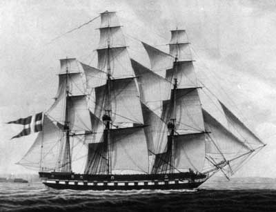 The frigate NYMPHEN, launched October 18, 1815